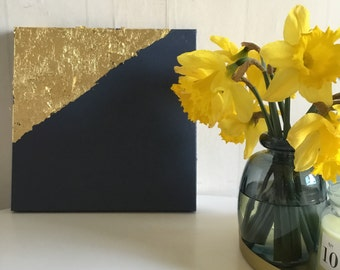 Paint the blue - gold foil and gold - Modern Art - design