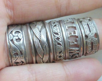 Lot of 5 Sterling Antique and vintage eternity bands