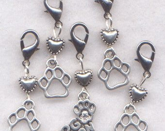 Dog Stitch Markers Crochet Clip Paw Print Love My Dog Puppy Pup Set of 5/SM228