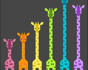 Giraffes in a Row Quilt Pattern, PDF Instant Download modern patchwork baby lap size african animal giraffe orange green blue purple rainbow