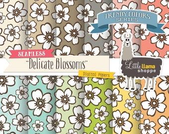 Seamless Floral Digital Paper, Flower Digital Backgrounds, Tileable Blossoms Scrapbook Paper, Commercial Use