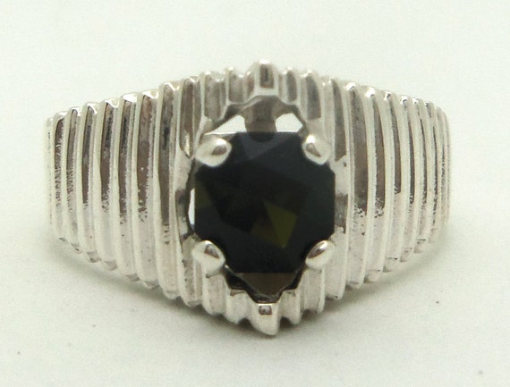0.85 Carat Dark Green Tourmaline Gemstone Ring Size 7 Sterling Silver Hand Cut Gem