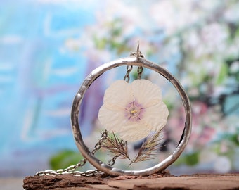 botanical jewelry, nature inspired, boho terrarium necklace, graduation gift, glass necklace, dried flower pendant