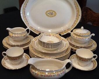 Vintage 45 Pc. Homer Laughlin Dish Set <> Dinnerware Set Pattern No. N1405 <> Eggshell Nautilus <> 1940's <> EXCELLENT CONDITION