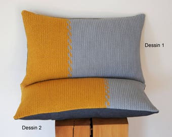 Pillow Cover pillow crochet pillow ochre mustard grey cotton 30 x 50 cm