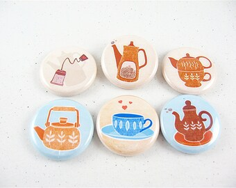 Coffee or Tea fridge magnets / Six 1 Inch button magnets / Whimsical Pastel / fits Magnabilities 1148