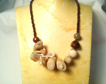Tagua Nut Necklace Coral Necklace Shell  Necklace Recycled Necklace Taqua Nut Jewelry Chunky Statement Jewelry Earthy Eco Stone Necklace
