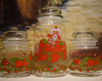 Strawberry Shortcake Jars with Bubble Top Lids Set of 3