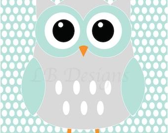Woodland Nursery Print, Gender Neutral Nursery Decor, Aqua and Gray Nursery, Owl Nursery Art, Gender Neutral Nursery, Woodland Bedroom Decor