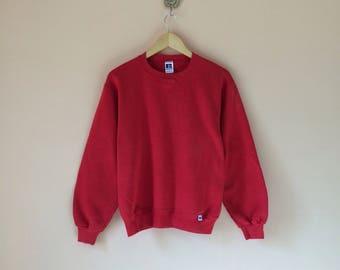 Vintage Russell Athletic Sweatshirt Red Plain // Russell Athletic