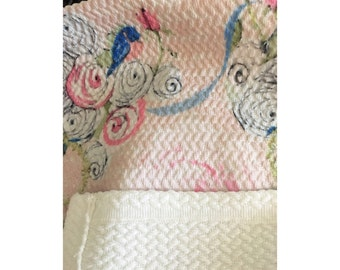 Rug, Shabby Chic Watercolor Roses and Bluebirds on Blush
