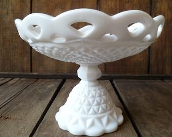 Milk Glass Pedestal Candy Dish Glass Beautiful
