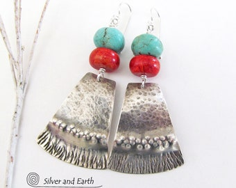 Turquoise Sterling Silver Earrings, Red Coral & Turquoise Earrings, Big Bold Unique Earrings, Handmade Modern Southwestern Tribal Jewelry