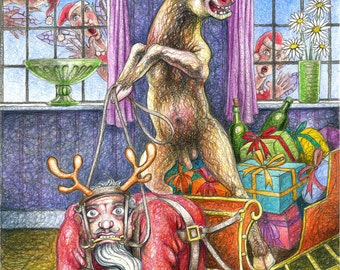 """Original drawing: """"Rutolph's Revenge"""" - Santa in role-reversal, harnessed to a sleigh. (mature content)"""