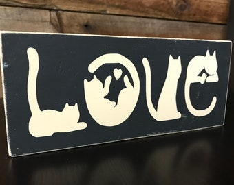"""Cats Wood Sign in the Shape of """"LOVE"""" Black and Tan Distressed Sign 8 x 3.5"""""""