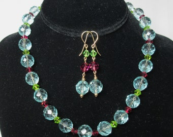 Necklace and earring set in aqua, peridot and fuchsia