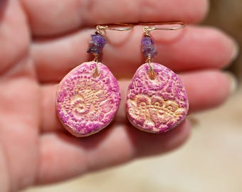 Gold Filled Lacy Pink Earrings with Purple Chip Beads Handmade Hand Painted Free Shipping from Israel