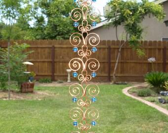 10 ft Copper  Suncatcher Swirl Rain Chain Handcrafted Kusari Doi Feng Shui Zen Garden Decor Water Feature  Handcrafted Sun Catcher Metalwork