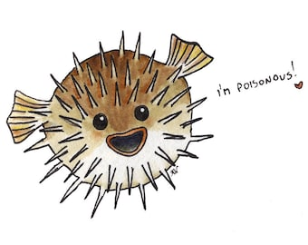 Fugu-chan - blow fish, illustration, art print, wall art, watercolour, whimsical, cute, nature, giclee, home decor, nursery
