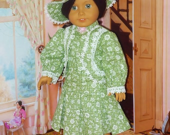 Robe victorienne pendant la journée avec un chapeau s'adapte American Girl Doll Samantha