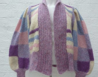 Purple jacket mohair cardigan knit handmade vintage top 1980s clothing mohair gift for her patchwork cardigan 80s present wife girlfriend UK