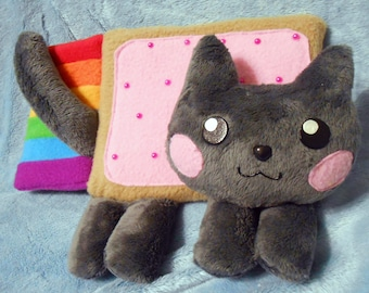 Nyan cat rainbow kitty mascot plushie (approx 20 cm long, super cuddly!) made of fleece and minky with beads