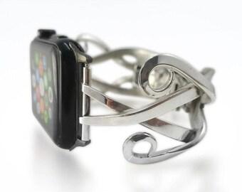 iWatch Band Womens Apple Band Bracelet Silver, 38mm iWatch Tech Jewelry Silver, Gift Wearable Tech iWatch Band, Holiday Gifts Apple iWatch