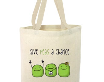 Heavy Duty Canvas Tote Bag - Give Peas A Chance, Fun Tote Bag, Beach Tote Bag, The Toad's Totes, Shopping Tote, Reusable Tote, Project Bag