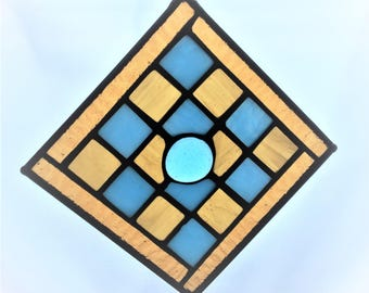 """Blue and Gold Stained Glass Suncatcher 5-1/4""""x5-1/4"""""""