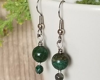 Double African Jade Earrings - Gemstone Earrings - Hanging Earrings