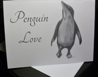 Greeting Cards / Penguin Greeting Cards / Penguin Note Cards / Blank Cards / Just Because Cards / Thinking of You Cards / Art  6 piece set