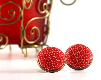 Holiday Red Stud Earrings - Christmas Earring Studs - Fabric Covered Buttons Earrings Jewelry - Yellow Dots Xmas Earring Posts