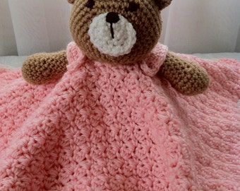 Crochet Pink Teddy Bear Snuggle Lovey Security Travel Wubby Stuffed Toy Amigurumi Baby Blanket Afghan