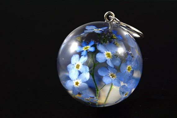Pendant with a natural forget me not flowers myosotis aloadofball Image collections