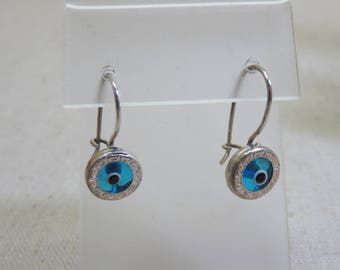 Glass Evil Eye Pierced Earrings, Vintage, Silverplated Wires