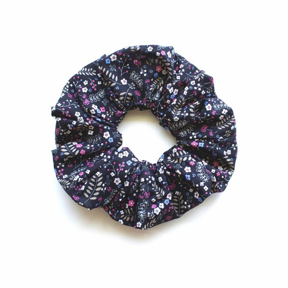 TINY FLOWERS on BLACK. Large Scrunchy or Scrunchie with tiny Flowers on black.