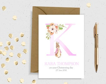 Christening pink/blue PERSONALISED card Personalised christening card personalised baptism Card Peter rabbit christening naming day card