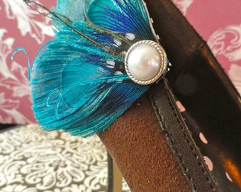 Heart and Soul Turquoise Peacock Feather Shoe Clips