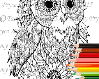 Fantasy Baby Owl Zen Doodle Adult Coloring Page Digi Stamp Instant Download Printable PDF