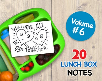 Vol 6 LUNCH BOX NOTES for Kids 20 Assorted Printable Cards Drawings Inspirational School Printables Art for Boys and Girls Lunchbox Letters