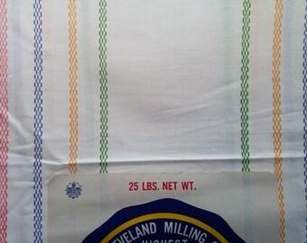 Vintage Feedsack Cotton Velvo Flour Sack W Original Paper Label #mm59