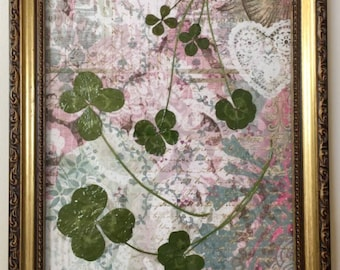 My Lucky Valentine-Four-leaf clover pictures featuring 7 authentic, found in nature, 4-leaf clovers. Each framed picture is one of a kind.
