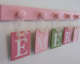Baby name emery etsy wall name letters nursery blocks pink green nursery decor personalized baby gifts negle Gallery