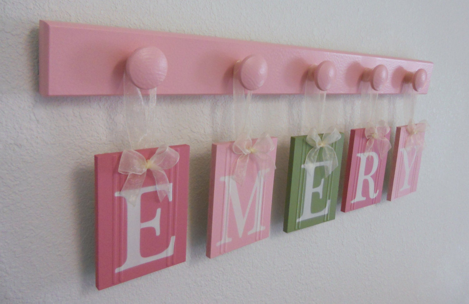 Wall name letters nursery blocks pink green nursery decor zoom negle Image collections