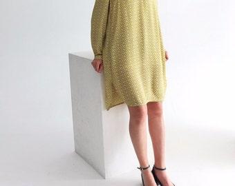 Tisch Dress -bright yellow nehru collar gathered shoulder abstract animal print tunic dress