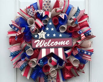 Fourth of July Wreath, Americana Wreath, Patriotic Mesh Wreath, Welcome Wreath, July 4th Wreath, Summer Wreath, Patriotic Burlap Wreath