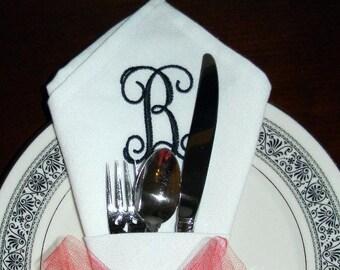 Set of Four. MONOGRAMMED DINNER NAPKINS. Wedding Gift. Corner Cone Shape. White Cloth Napkins. Embroidered Napkins. Personalized Napkins.