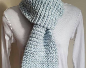 Chunky Knit Scarf - Blue, Knitted Scarf, Neck Warmer, Scarf, Hand Knitted Scarf, Blue Scarf, Chunky Scarf, Wool Scarf, Handmade Scarf