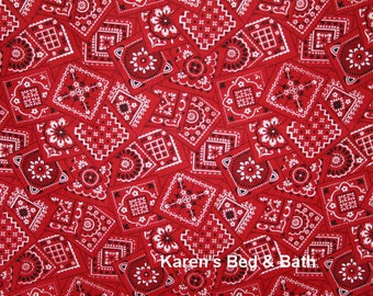 Red Bandana Fabric By the Yard / Half Yard Western Cowboy Cowgirl Country Bandanna 100% Cotton Quilting Apparel Fabric w5/18