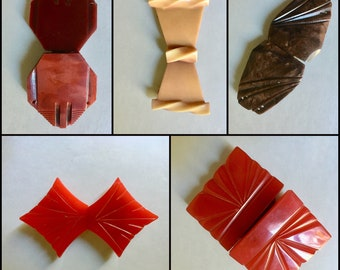 Vintage Two Part Belt Buckles in Early Plastics for Sewing and Fashion Accessories